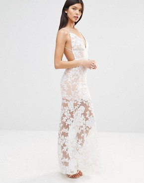 photo Cami Strap Floral Sequin Fishtail Backless Maxi Dress by Club L, color Nude/Cream - Image 4