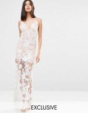 photo Cami Strap Floral Sequin Fishtail Backless Maxi Dress by Club L, color Nude/Cream - Image 1