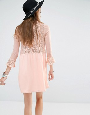 photo Lace Insert Smock Dress with Choker Detail by Rokoko, color Dusty Pink - Image 2