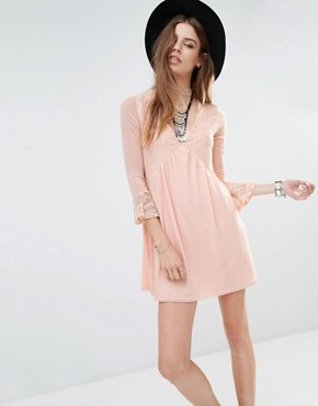 photo Lace Insert Smock Dress with Choker Detail by Rokoko, color Dusty Pink - Image 1