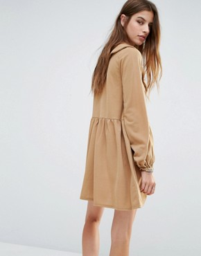 photo Tie Front Smock Dress with Frill Detail by Rokoko, color Tan - Image 2
