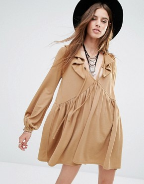 photo Tie Front Smock Dress with Frill Detail by Rokoko, color Tan - Image 1