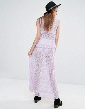 photo High Neck Sleeveless Maxi Dress in Lace by Rokoko, color Lavender - Image 2