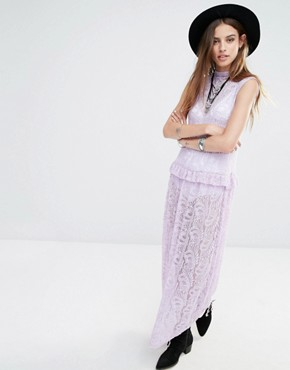 photo High Neck Sleeveless Maxi Dress in Lace by Rokoko, color Lavender - Image 1