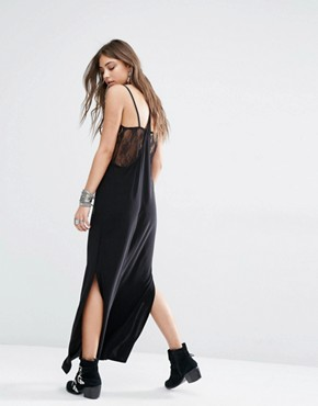 photo 2 in 1 Slip Cami Dress with Lace Detail by Rokoko, color Black - Image 2