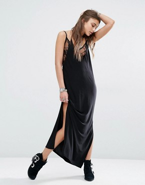 photo 2 in 1 Slip Cami Dress with Lace Detail by Rokoko, color Black - Image 1