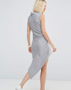 photo Asymmetric Rib Dress with High Neck by House of Sunny, color Grey - Image 2