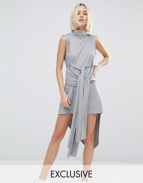 photo Asymmetric Rib Dress with High Neck by House of Sunny, color Grey - Image 1