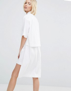photo Zip Front Shirt Dress by House of Sunny, color White - Image 2