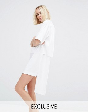 photo Zip Front Shirt Dress by House of Sunny, color White - Image 1