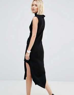 photo Asymmetric Rib Dress with High Neck by House of Sunny, color Black - Image 2