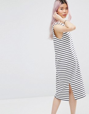 photo Old Spice Sleeveless Striped Midi Dress by Ganni, color Beige - Image 2
