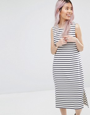 photo Old Spice Sleeveless Striped Midi Dress by Ganni, color Beige - Image 1