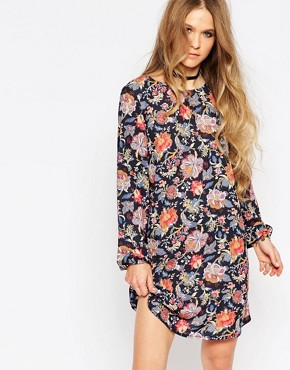 photo Long Sleeve Tunic Dress with Tie Back Detail in Floral Print by Reclaimed Vintage, color Black - Image 2