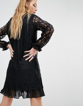 photo High Neck Dress with Sheer Lace Sleeves and Ruffles by Navy London, color Black - Image 2
