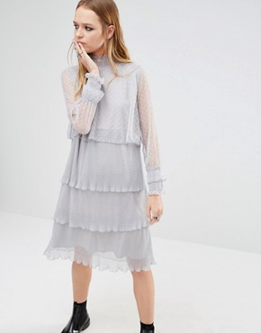 photo High Neck Dress with Multi Tiers in Spot Lace by Navy London, color Grey - Image 1