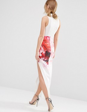photo Plunge Front Midi Dress with Thigh Split by Ginger Fizz, color Multi - Image 2