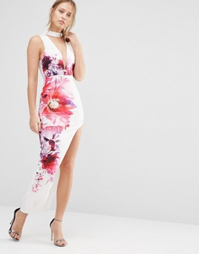 photo Plunge Front Midi Dress with Thigh Split by Ginger Fizz, color Multi - Image 1