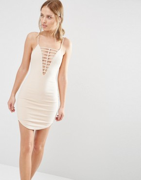 photo Ladder Front Mini Dress by Ginger Fizz, color Nude - Image 1
