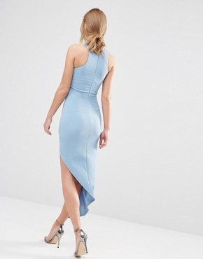 photo Sleeveless Wrap Front Dress with Asymmetric Skirt by Ginger Fizz, color Blue - Image 2
