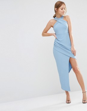photo Sleeveless Wrap Front Dress with Asymmetric Skirt by Ginger Fizz, color Blue - Image 1