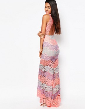 photo Multi Lace Plunge Maxi Dress by Love Triangle, color Pink Multi - Image 2