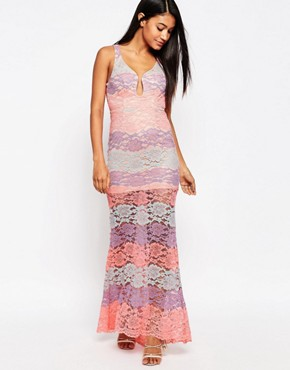 photo Multi Lace Plunge Maxi Dress by Love Triangle, color Pink Multi - Image 1