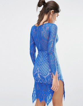 photo Lace Long Sleeve Midi Dress by Love Triangle, color Blue - Image 2