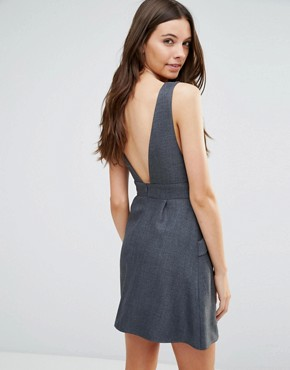photo Plunge Pinafore Dress in Herringbone by Love, color Grey - Image 2