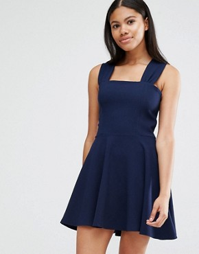 photo Navy Twist Back Guage Strap Skater Dress by Love, color Navy - Image 1