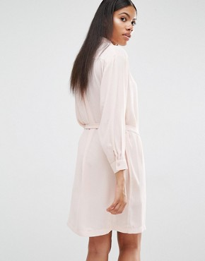 photo Long Sleeve Belted Shirt Dress by Love, color Blush - Image 2