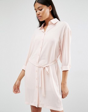 photo Long Sleeve Belted Shirt Dress by Love, color Blush - Image 1