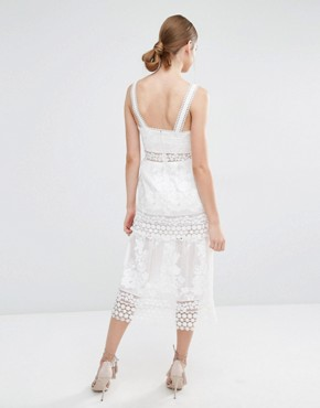 photo Plunge Neck Prairie Dress with Organza Slip Detail by Self Portrait, color White - Image 2