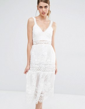 photo Plunge Neck Prairie Dress with Organza Slip Detail by Self Portrait, color White - Image 1