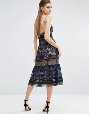 photo Strappy Maxi Dress in Blue by Self Portrait, color Navy/Black/Nude - Image 2