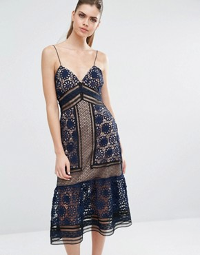 photo Strappy Maxi Dress in Blue by Self Portrait, color Navy/Black/Nude - Image 1