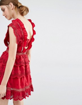 photo Three Tiered Peplum Lace Dress by Self Portrait, color Raspberry Red - Image 2