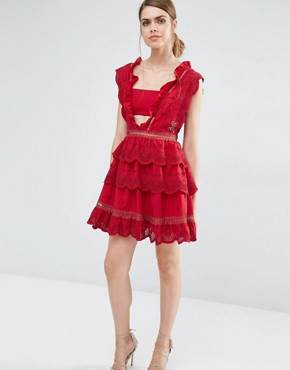 photo Three Tiered Peplum Lace Dress by Self Portrait, color Raspberry Red - Image 1