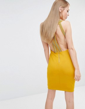 photo High Neck Bodycon mini Dress with Gold Embellishment by TFNC, color Yellow/Gold - Image 1
