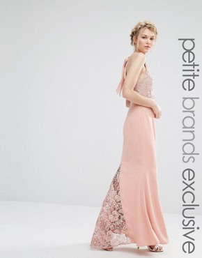 photo Halter Neck Maxi Dress with Lace Bodice by Jarlo Petite, color Nude - Image 1