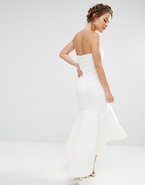 photo Bandeau Midi Dress with Fishtail Detail by Jarlo Petite, color White - Image 2