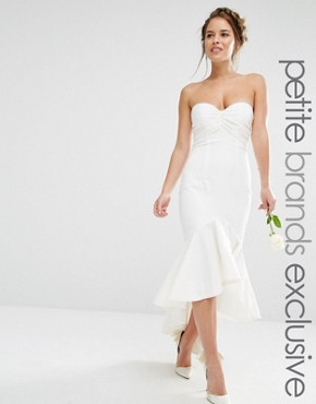 photo Bandeau Midi Dress with Fishtail Detail by Jarlo Petite, color White - Image 1