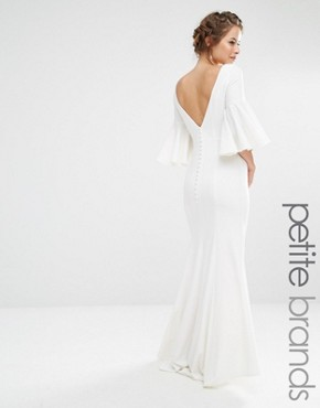 photo Maxi Dress with Bell Sleeve and Button Back Detail by Jarlo Petite, color White - Image 1