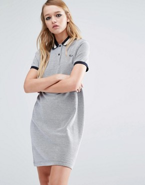 photo Stripe Collar Polo Dress by Fred Perry, color Grey - Image 1