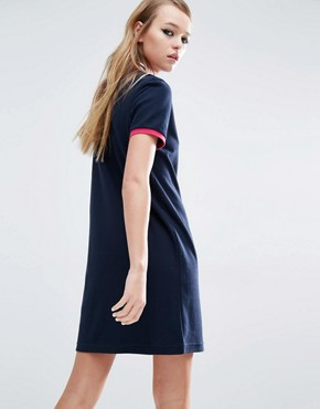 photo Stripe Collar Polo Dress by Fred Perry, color Navy - Image 2