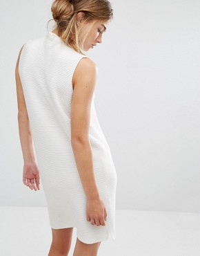 photo High Neck Rib Knit Dress by Native Youth, color White - Image 2