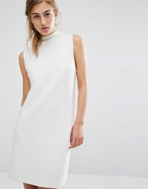 photo High Neck Rib Knit Dress by Native Youth, color White - Image 1