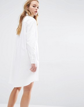 photo Shirt Dress with Raw Hem by Native Youth, color White - Image 2