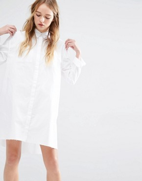 photo Shirt Dress with Raw Hem by Native Youth, color White - Image 1