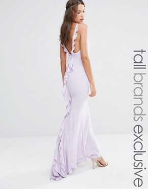 photo Maxi Dress with Ruffle Back Detail by Jarlo Tall, color Mauve - Image 1